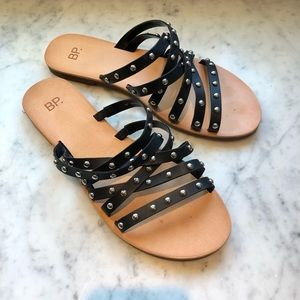 bp Wanda Flat Black Studded Leather Sandals